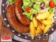 Печена домашна наденица от телешко и свинско месо на фурна